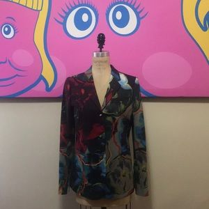 Floral red blue green Multi color Cotton Blazer